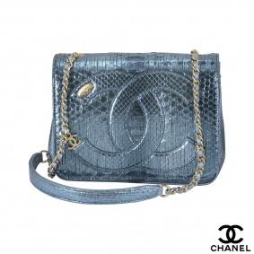 Chanel Blue Python Cross body Handbag